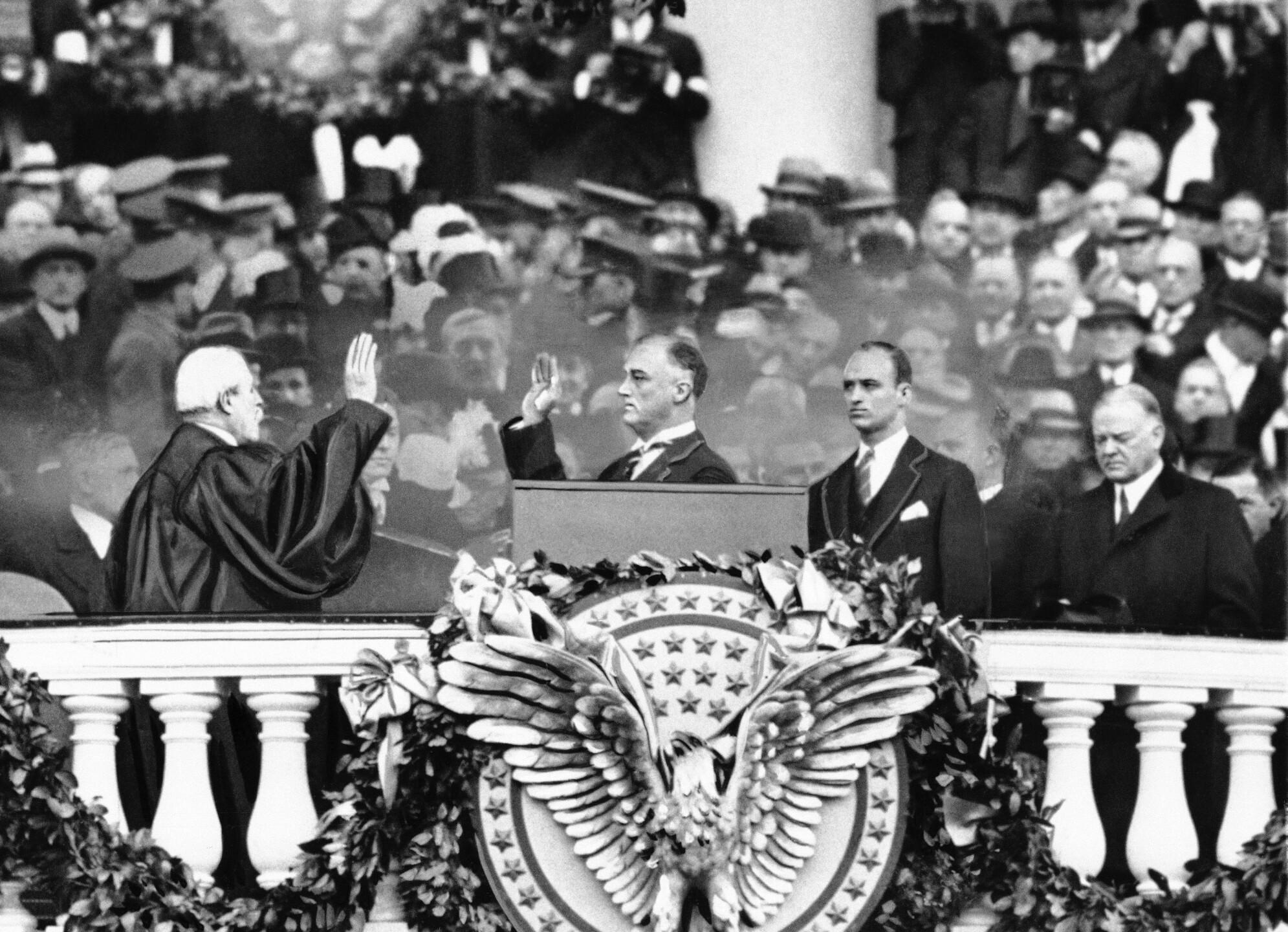 Franklin D. Roosevelt, Charles E. Hughes, Herbert Hoover, James Roosevelt