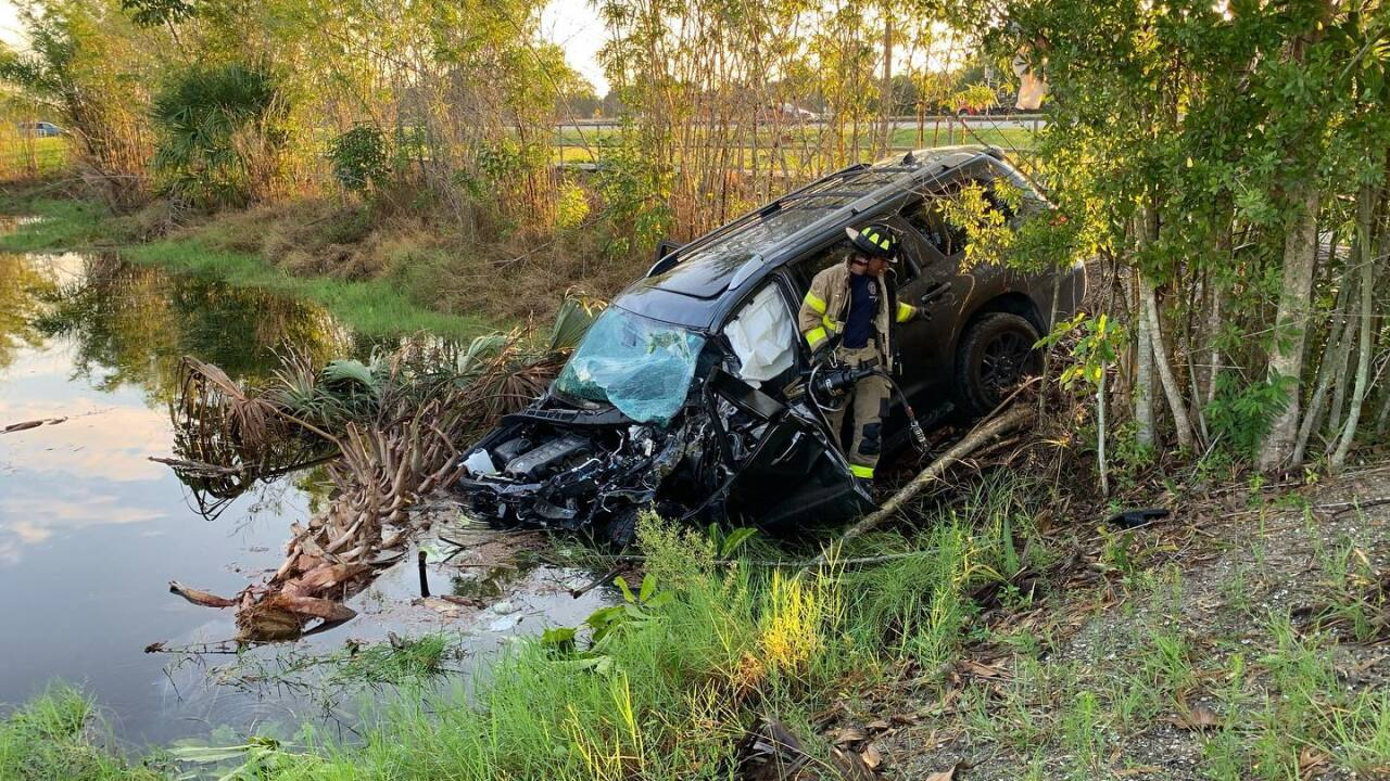 Firefighters rescued a driver from their crashed vehicle this morning in Boynton Beach.