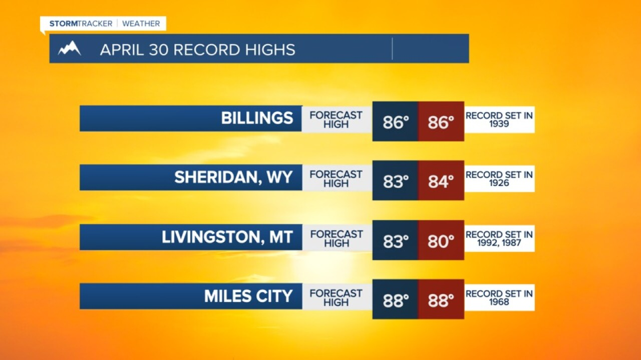 RECORD HIGH TEMPERATURES REACHABLE FRIDAY APRIL 30