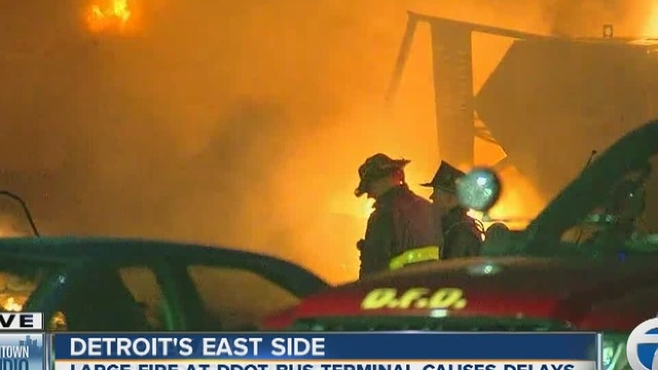 Fire at DDOT bus terminal on Detroit's east side