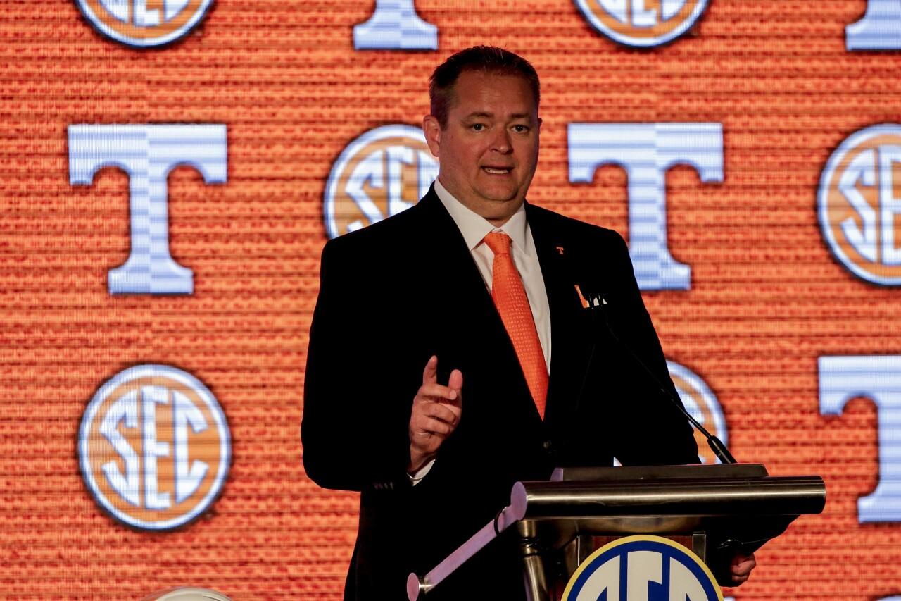 Tennessee Volunteers head coach Josh Heupel at 2021 SEC media days