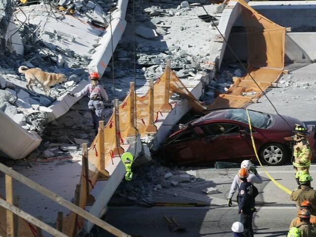 Pedestrian bridge collapses near Florida International University, crushing cars below