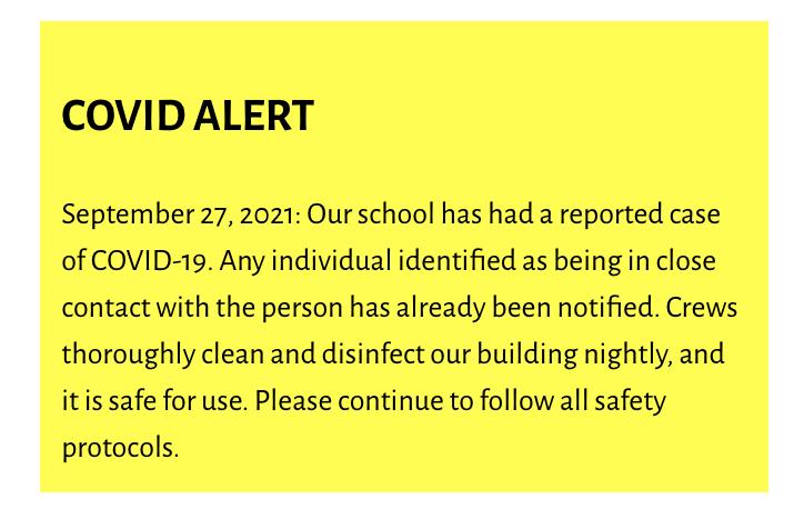 Nathan Hale Elementary COVID Alert