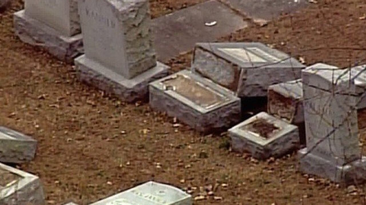 Vandals damage 100 headstones at Jewish cemetery, police say