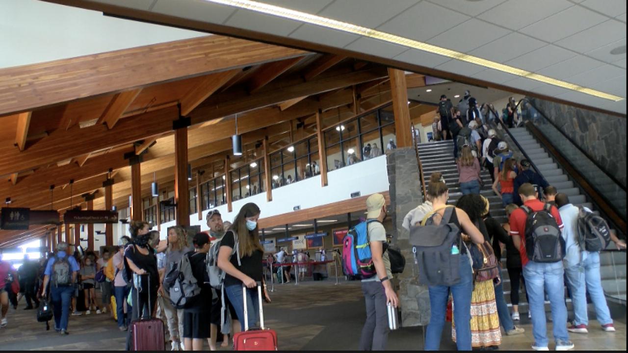 Delayed passengers wait at Bozeman airport