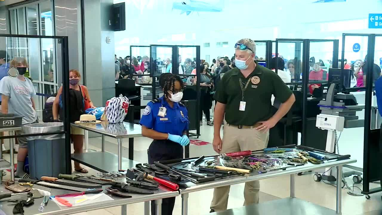 TSA agents look at week's worth of weapons seized at Fort Lauderdale-Hollywood International Airport halfway through 2021