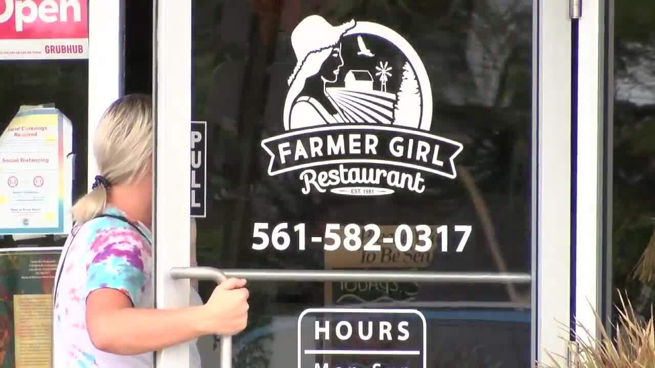 Customer enters Farmer Girl Restaurant
