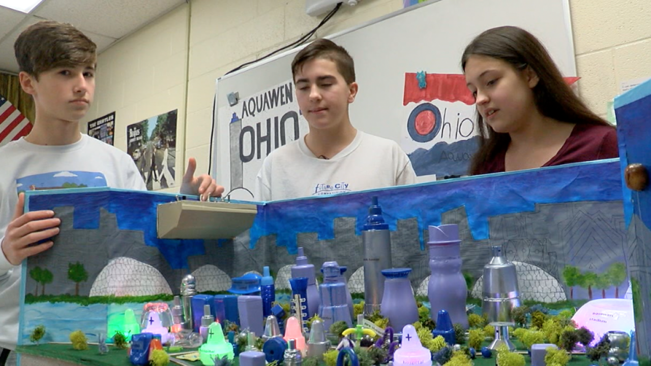Batavia 8th graders look at their engineering project, the city of Aquawen