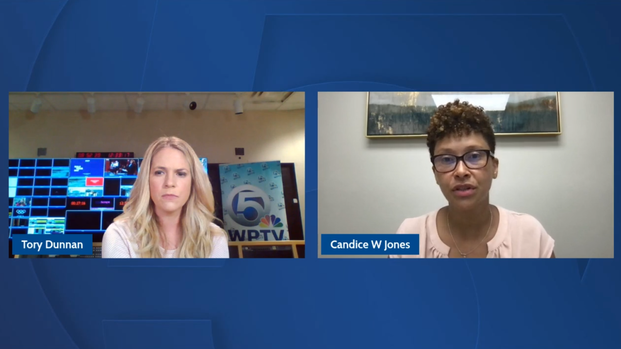 Tory Dunnan and Candice W. Jones video chatting over a blue background.