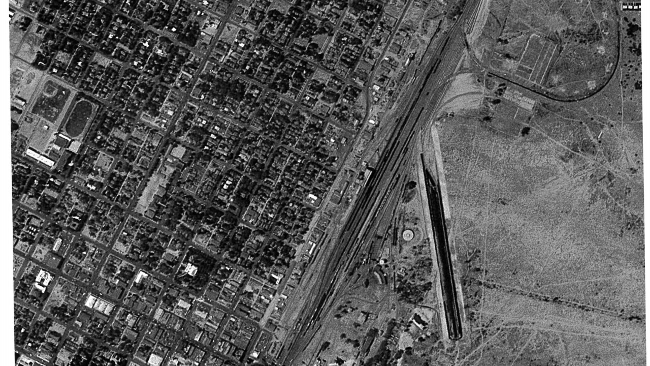 This is an aerial photo provided by attorney Craig Mueller which shows the site of the current Clark County Government Building in 1950. The site was used to dump oil, fuel and other chemicals from trains.