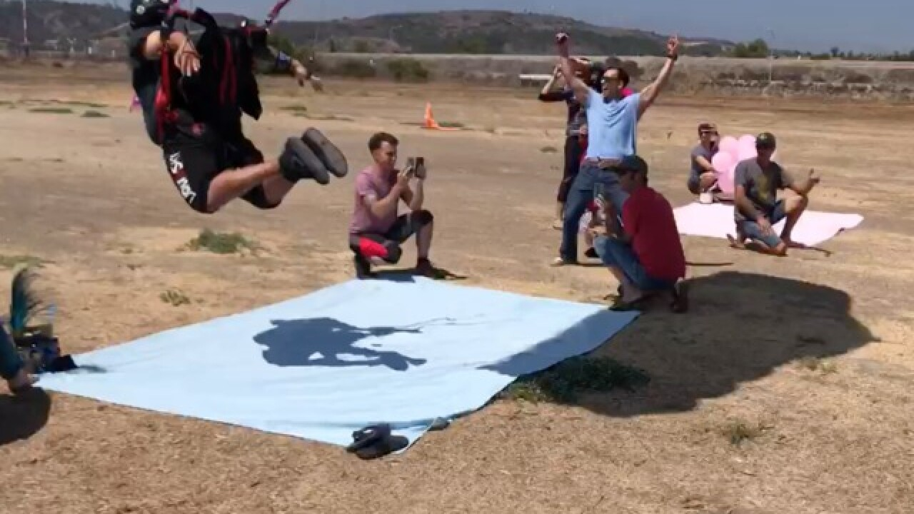 Angelica Campos' skydiving baby gender reveal
