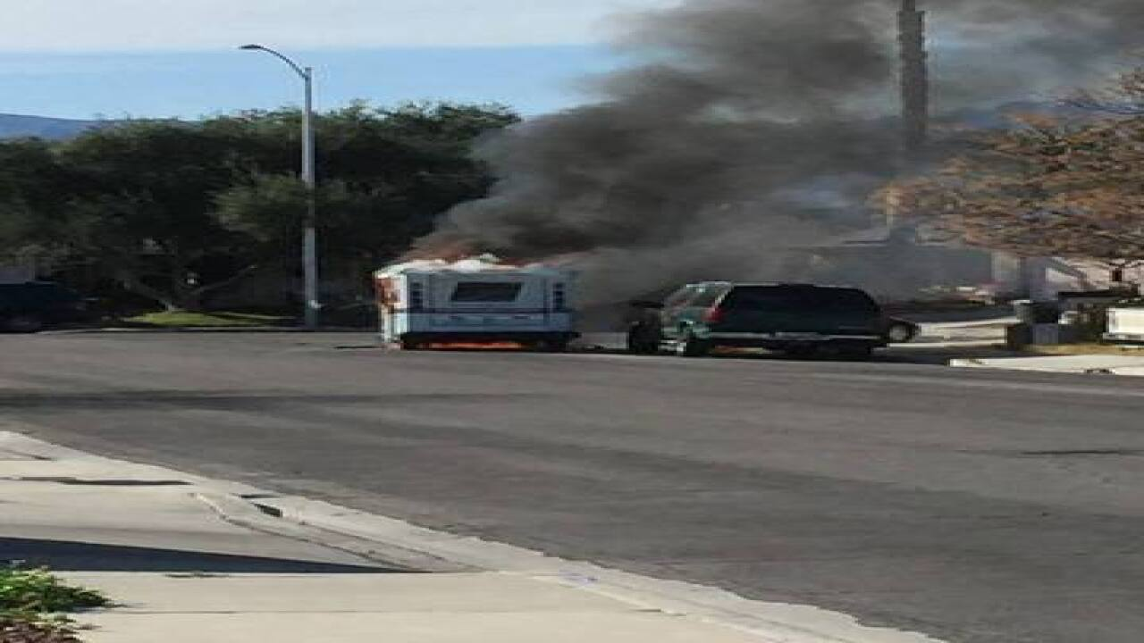 Mail truck catches on fire near Cheyenne, Rancho