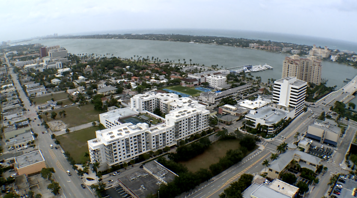 view of Intracoastal Waterway and Atlantic Ocean from top of Jeff Greene's twin towers in West Palm Beach