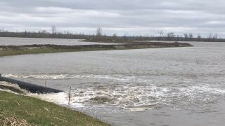 HAMBURG IOWA LEVEE DITCH MISSOURI RIVER FLOOD WATER