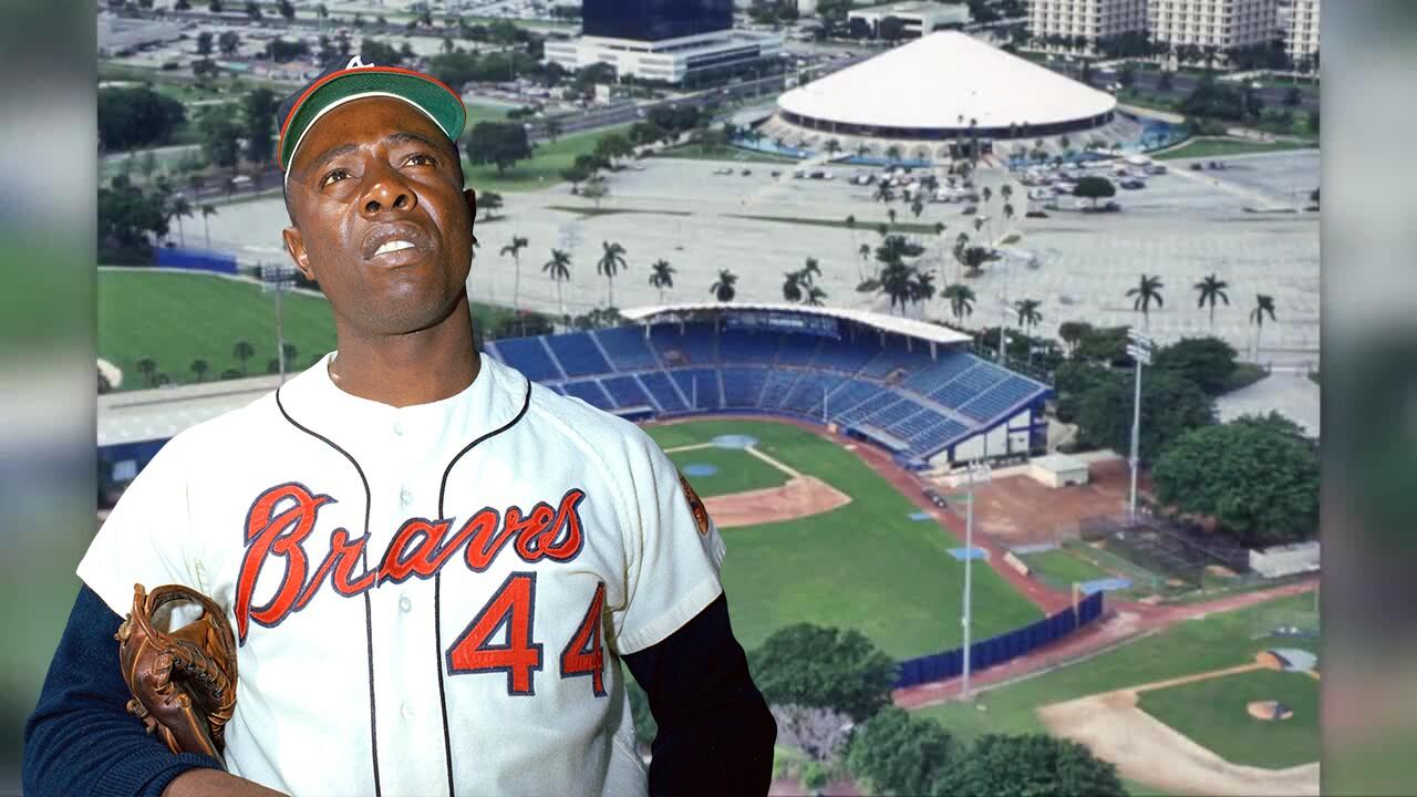 Hank Aaron superimposed over bird's eye view of West Palm Beach Municipal Stadium
