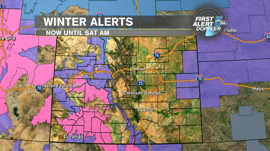 Winter Storm Warning (pink) and Winter Weather advisory (purple)