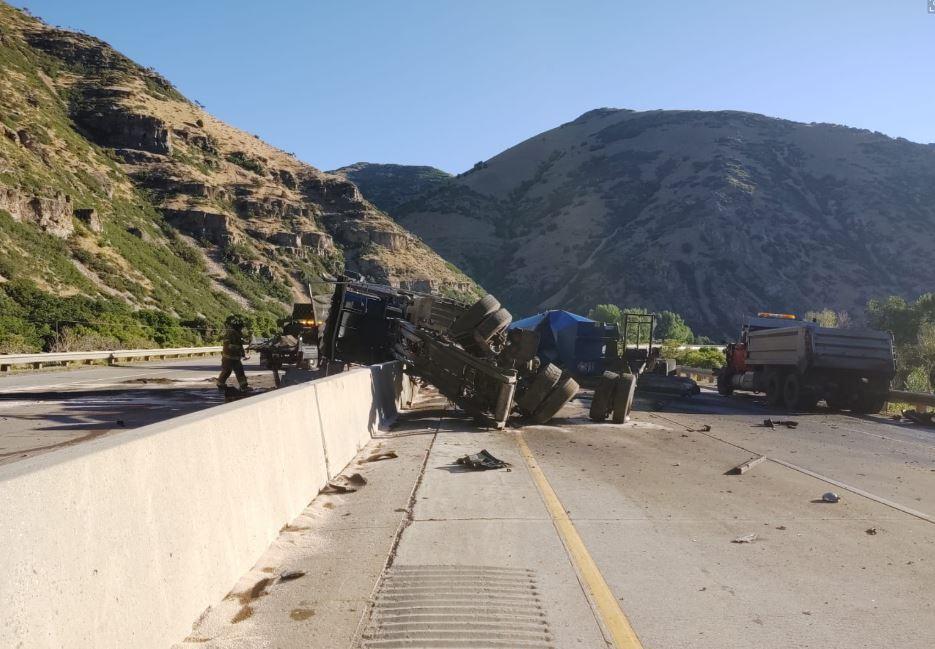 Photos: Crash involving semi, dump truck blocks I-84 in MorganCo.
