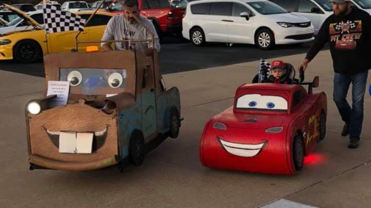 Oklahoma dads team up to build 'Cars' Halloween costumes for their sons in wheelchairs