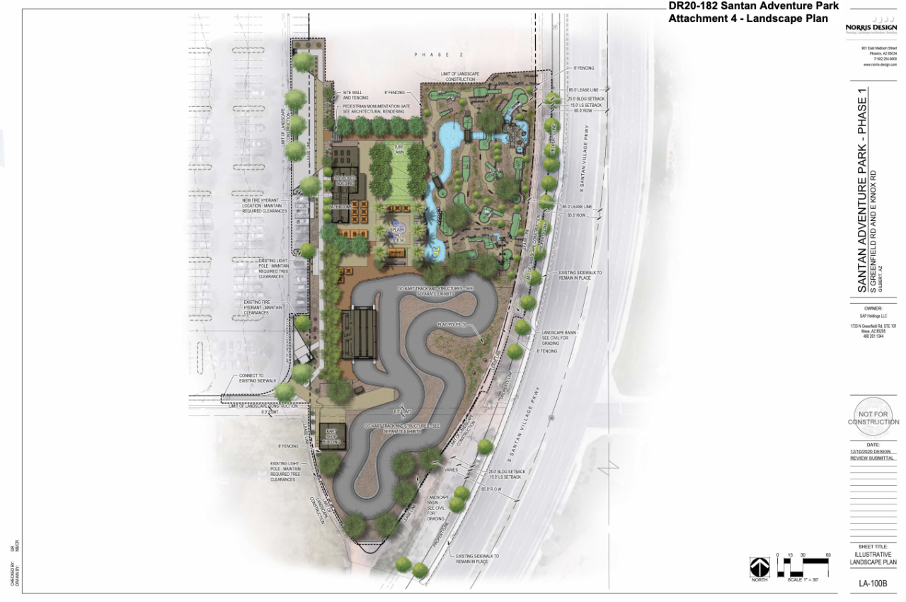 A conceptual rendering of San Tan Adventure Park, a proposed family-friendly amusement park near Crossroads Park in Gilbert.