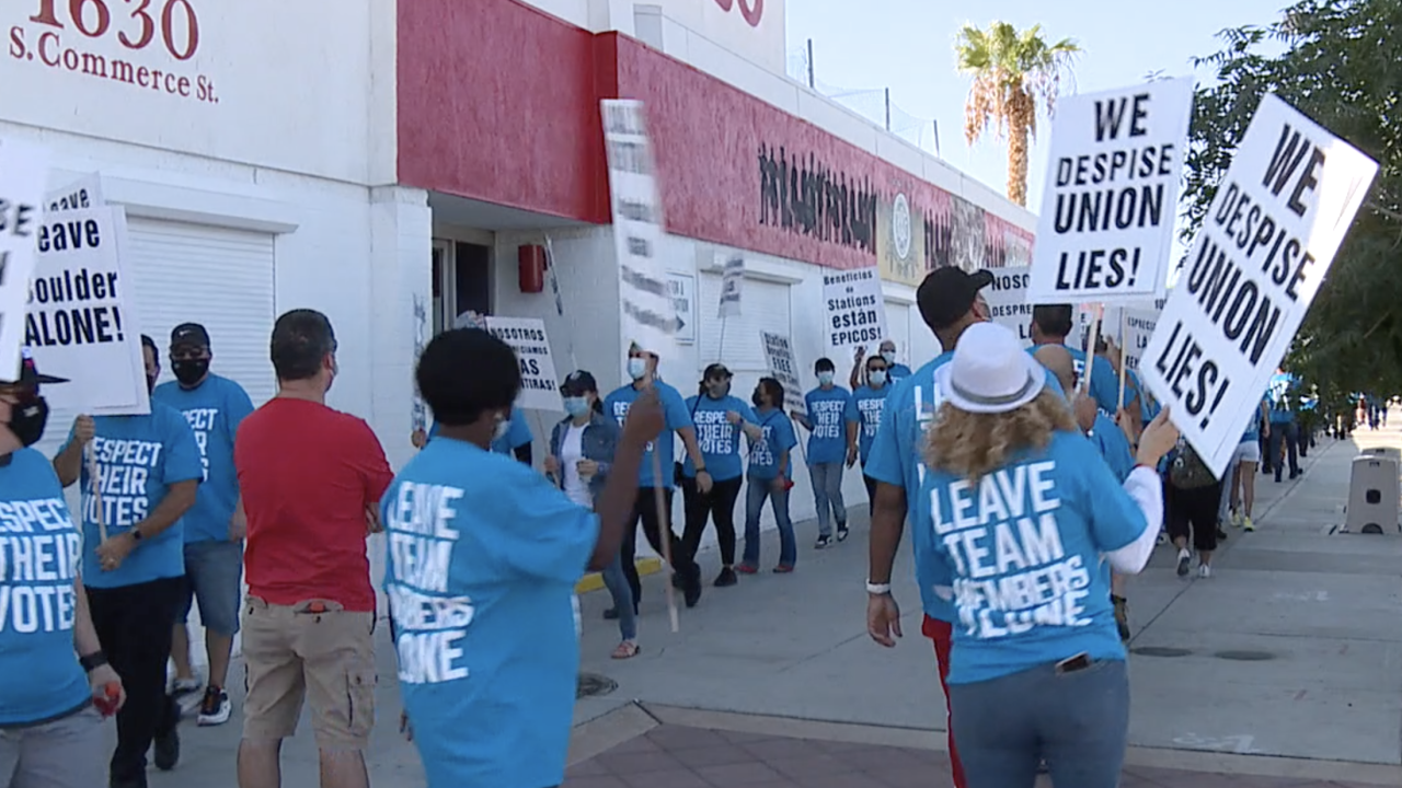 STATION CASINO EMPLOYEES PROTEST CULINARY UNION