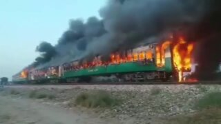 Explosion, fire on train in Pakistan kills 70