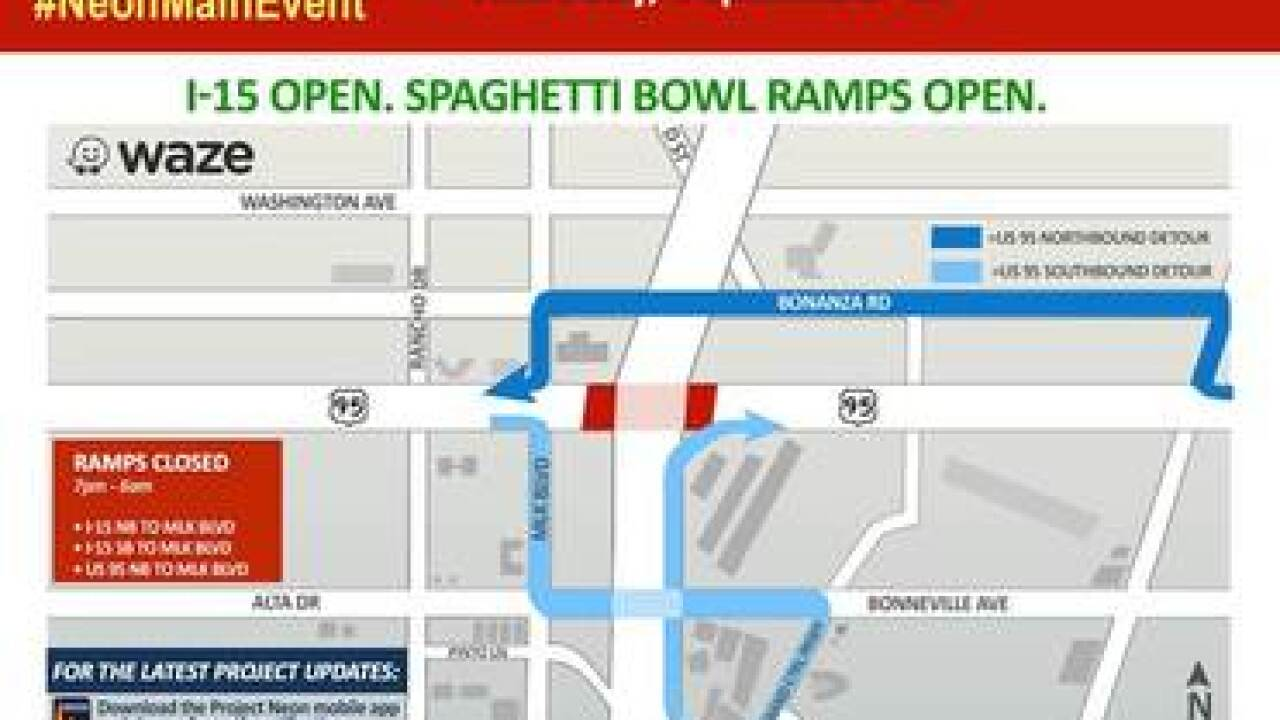 US 95 in Spaghetti Bowl to be closed overnight this week