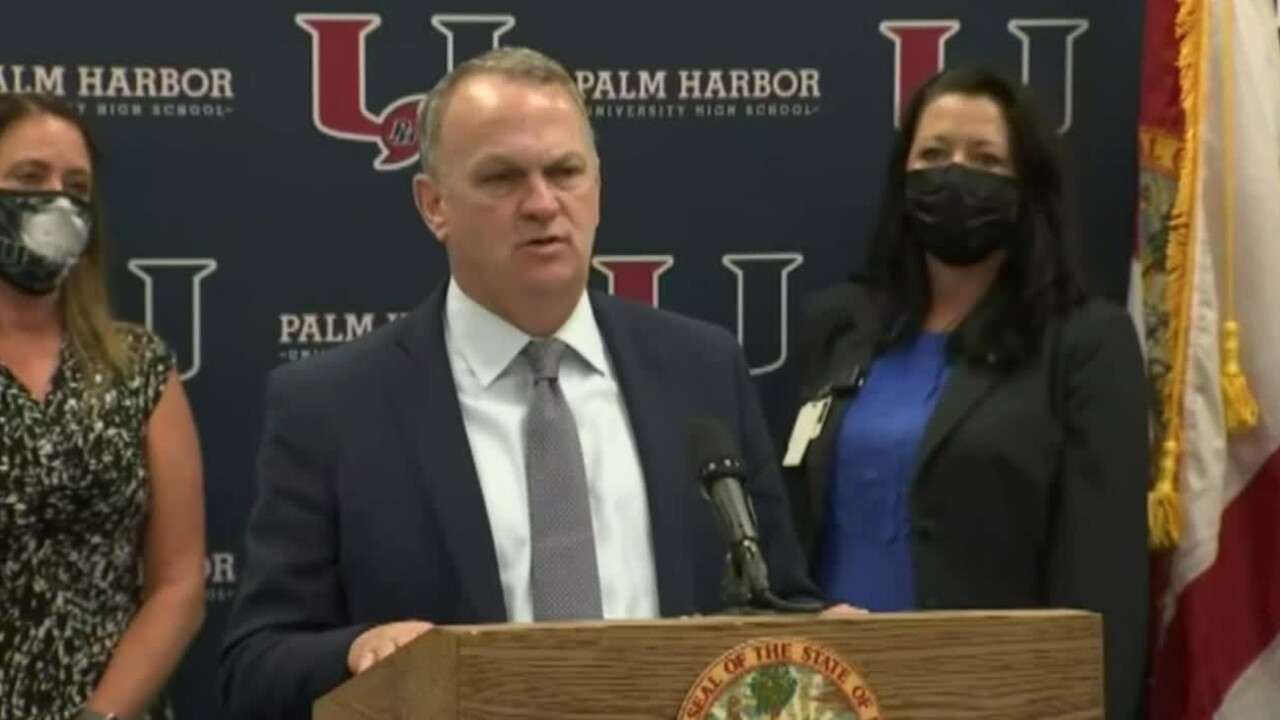 Florida Education Commissioner Richard Corcoran speaks at a news conference in Palm Harbor on March 31, 2021.jpg