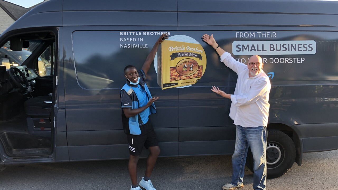 In cities across the country, Brittle Brothers is featured on the side of Amazon delivery vans.