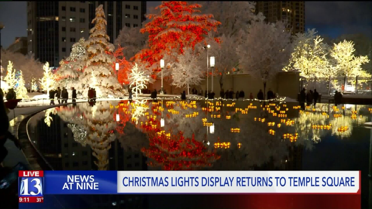 Holiday lights switched on at Temple Square in downtown Salt LakeCity