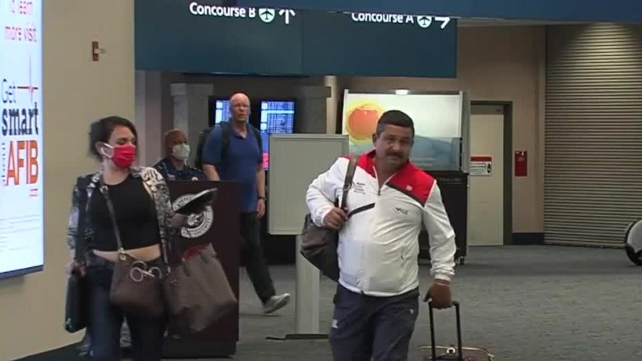 Travelers at Palm Beach International Airport