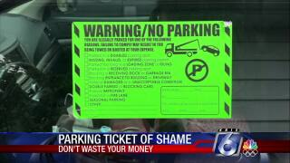 "Consumers beware this ""parking sticker of shame"""
