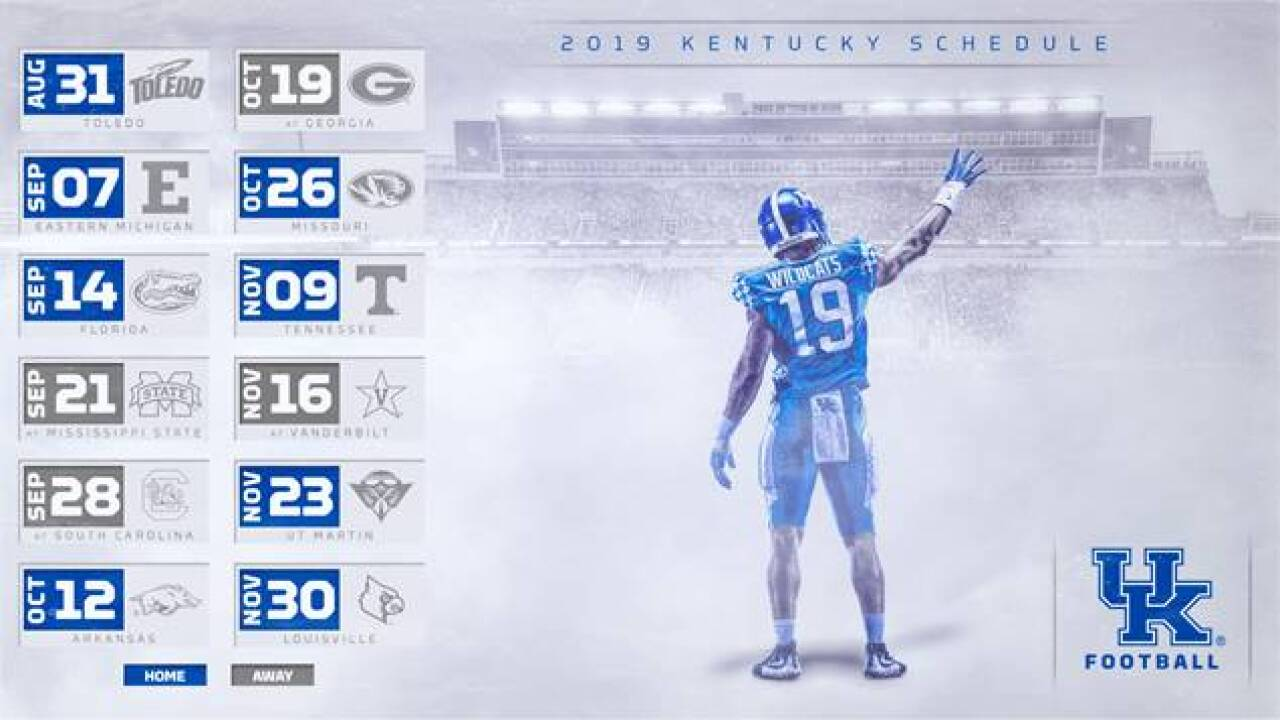 Kentucky Set for Home-Heavy 2019 Football Schedule