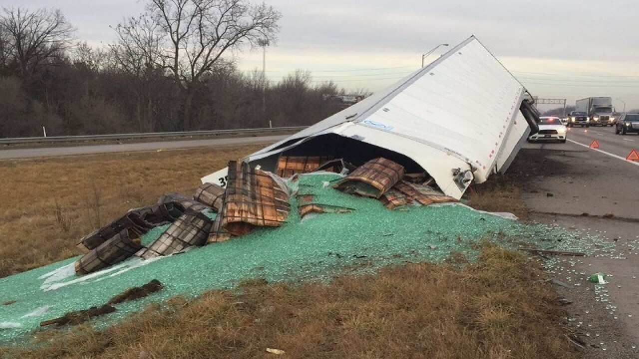 Semi-truck spills 38,000 pounds of marbles on I-465