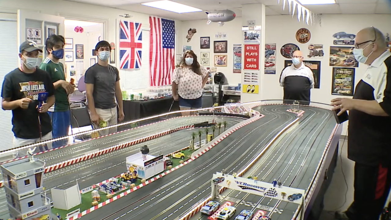Slot Car Therapy happening at Vocal TRACK Speech & Language Center.