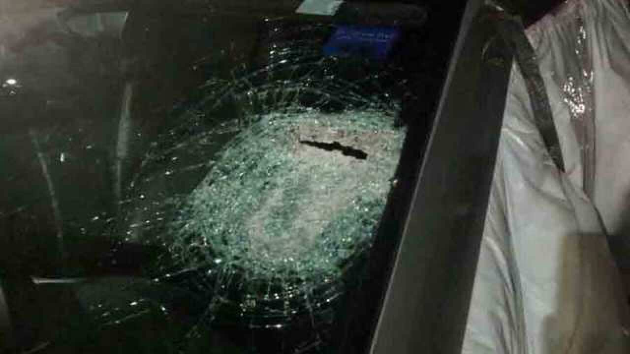 Object Thrown At Windshield Hits Driver In Face