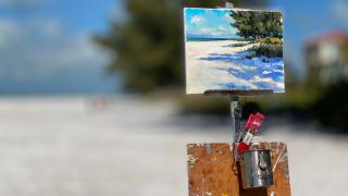 Artist painting en-plein air on Anna Maria Island.