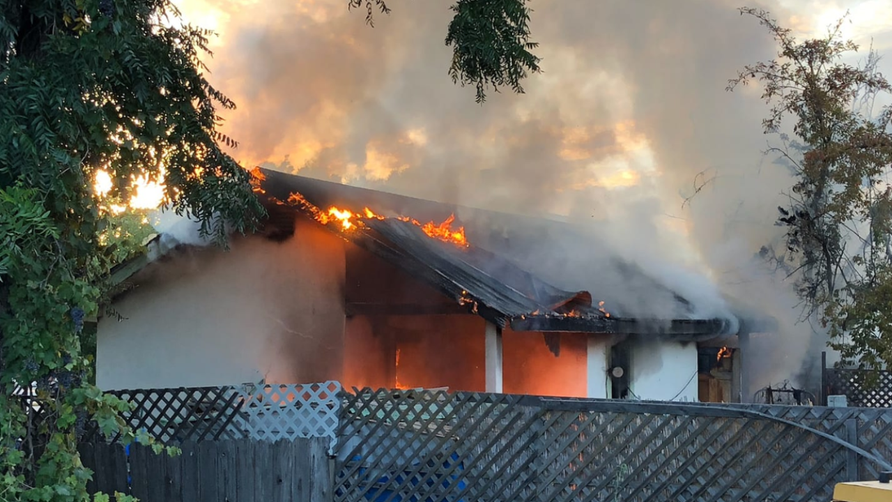 Fire breaks out at a home in Atascadero. Photo Courtesy: Atascadero Police Department