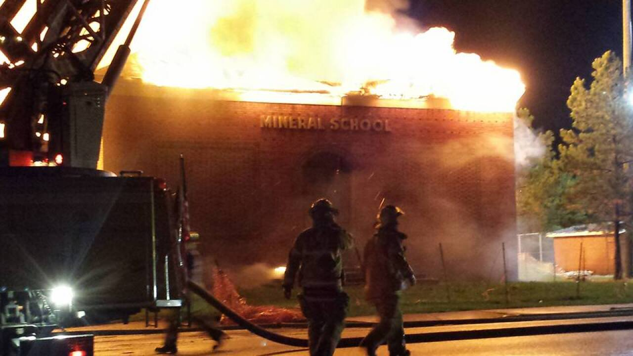 Flames engulf old Mineral Elementary inLouisa