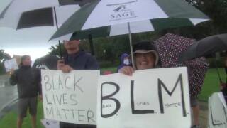 """Black Lives Matter"" protest at Trump National Golf Club in Jupiter, Fla."
