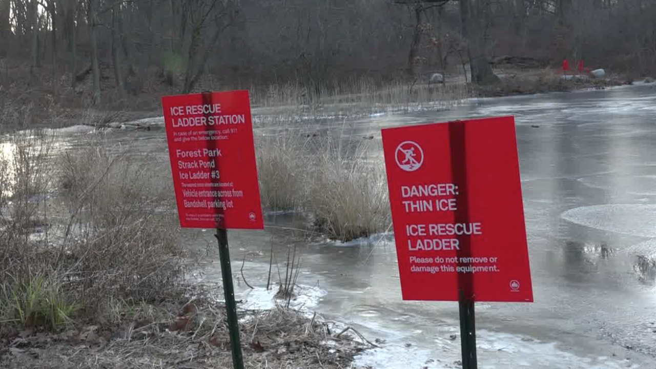 Children fall through ice in Queens