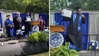 Shawn Moore-Bridges mock college graduation ceremony .png