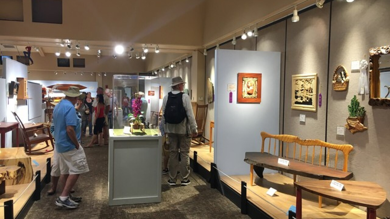 Works of wooden art at San Diego County Fair