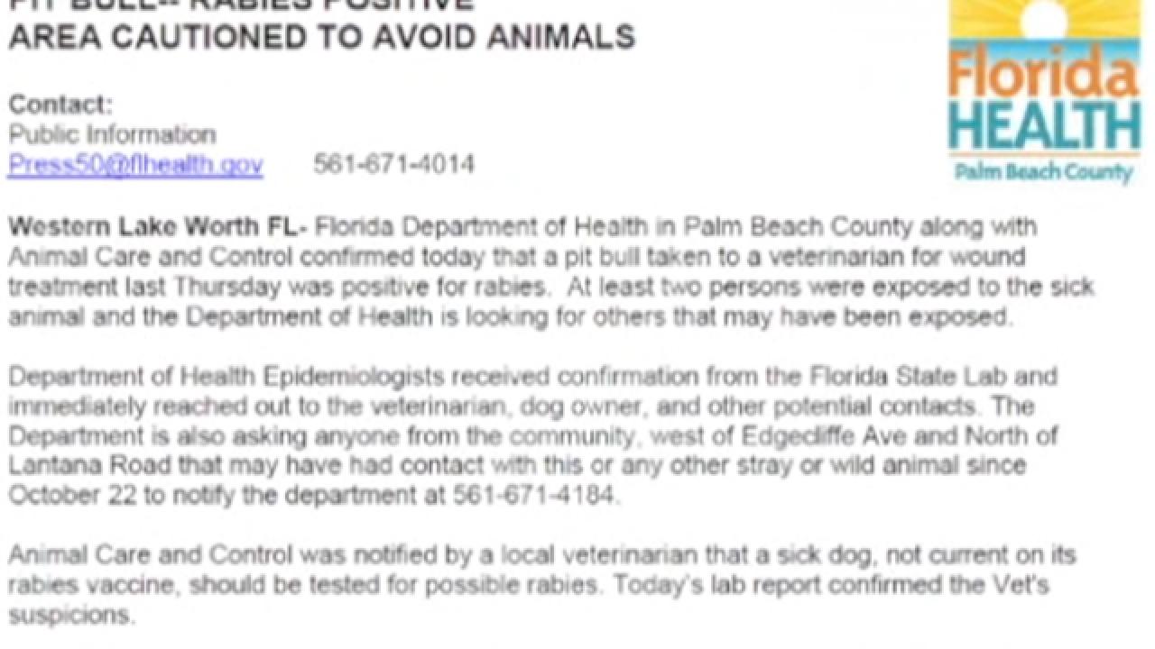 Fliers warn of rabies in suburban Lake Worth