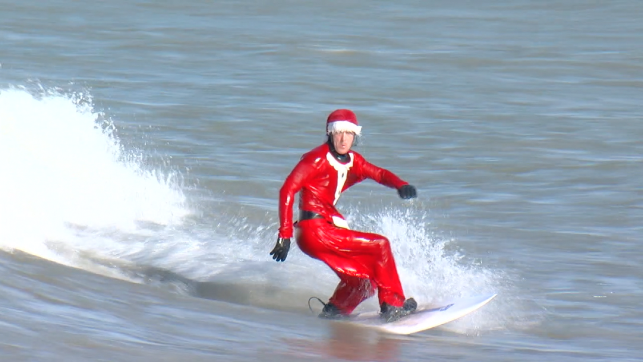 Santa surfing Lake Erie