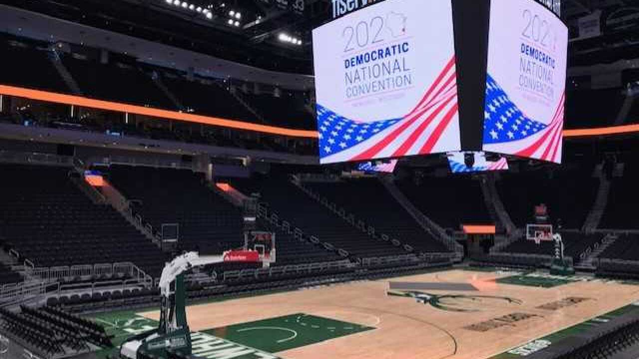 2020 DNC sign inside Fiserv Forum