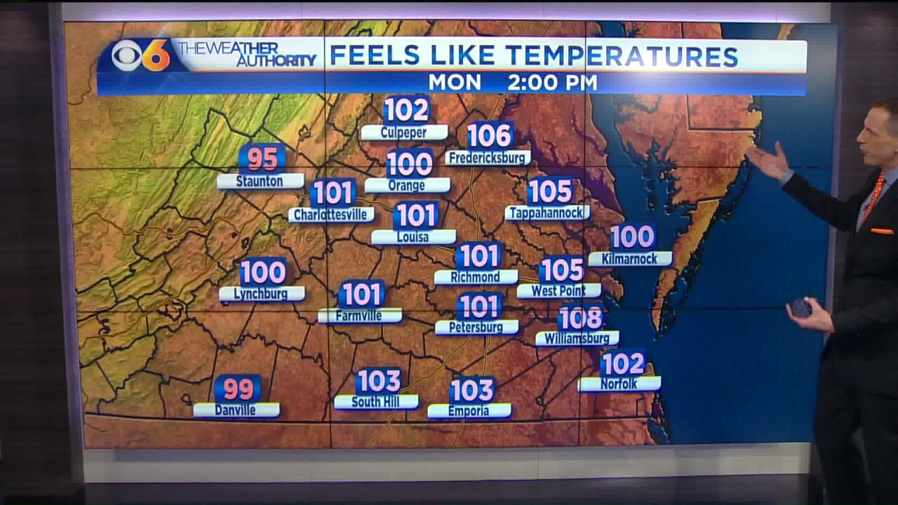 The heat index may break 100° four straight days thisweek