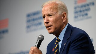 Democratic presidential candidate and former Vice President Joe Biden speaks on stage during a forum on gun safety at the Iowa Events Center on August 10, 2019 in Des Moines, Iowa. The event was hosted by Everytown for Gun Safety.