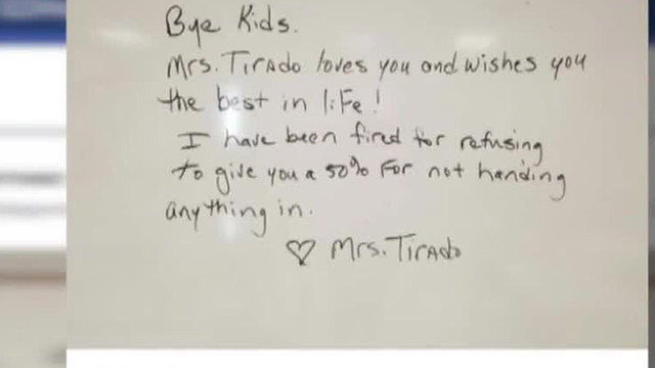 Teacher fired over 'no zero' grading policy