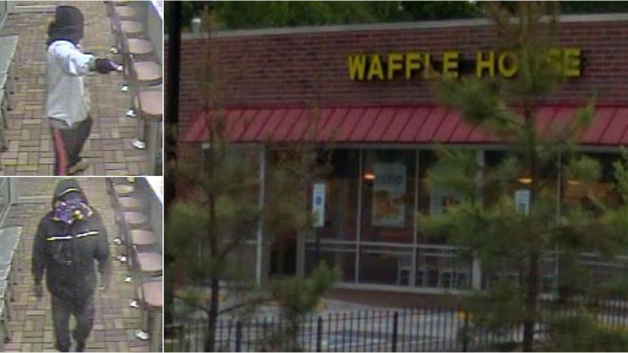 Armed with a gun and a box cutter, masked men rob breakfast crowd at Waffle House
