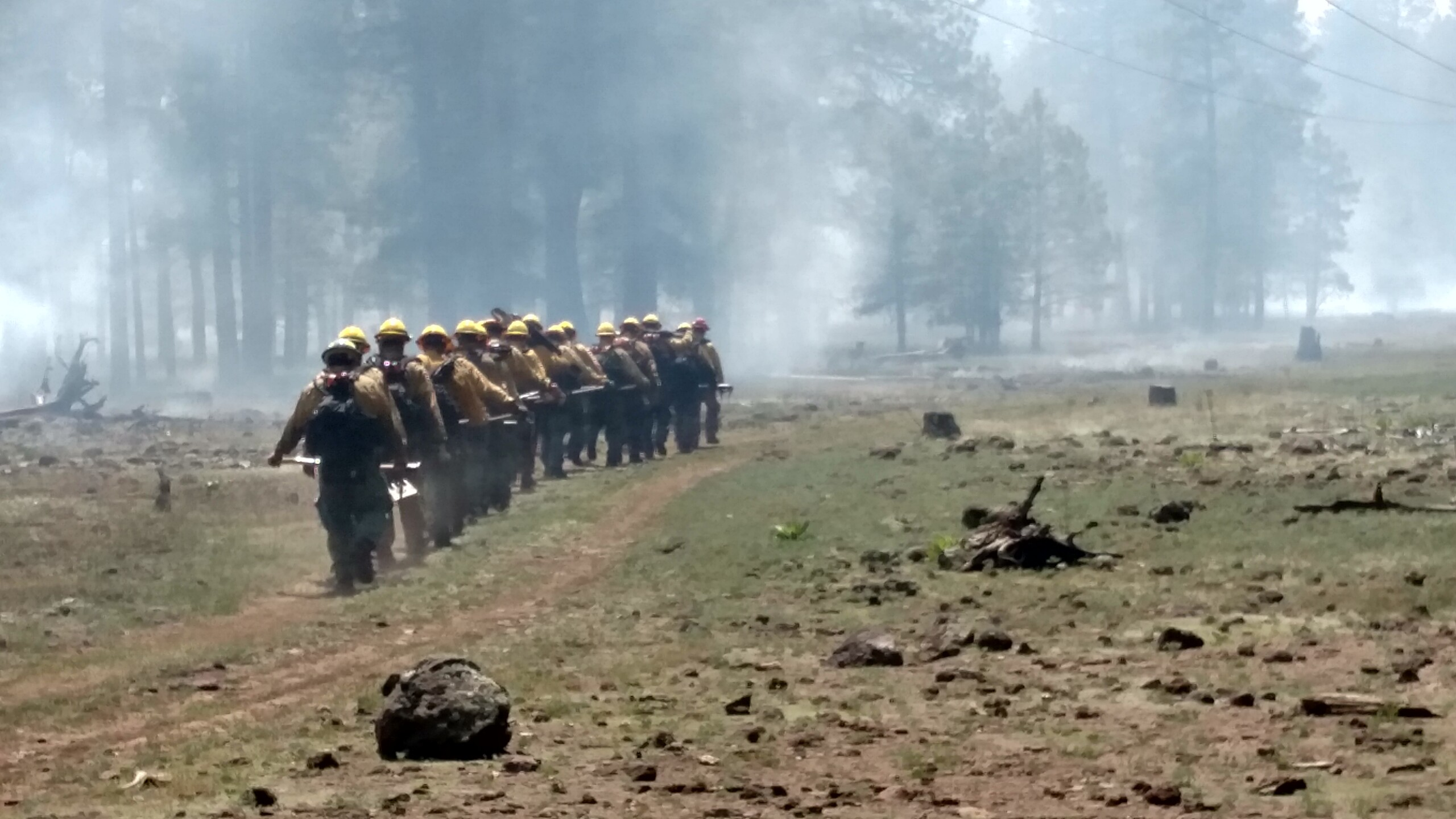 Inmates heading to battle wildfires in this July 2019 photo.